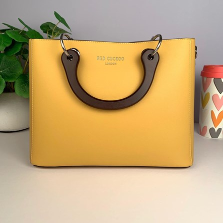 Tote Bag With Wooden Handles In Mustard