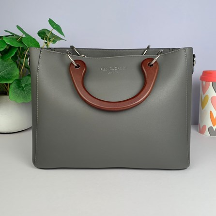 Tote Bag With Wooden Handle In Grey