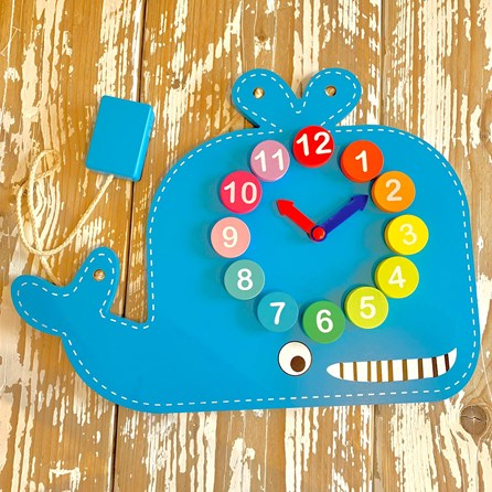 Wooden Blue Whale Learning Clock