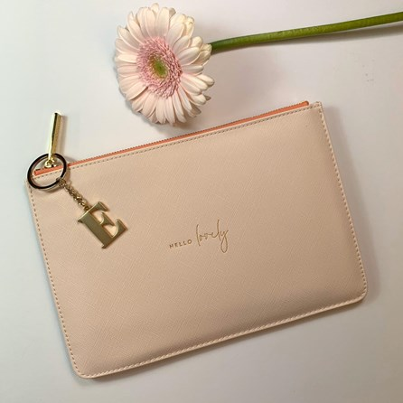 Katie Loxton Personalised 'Hello Lovely' Colour Pop Perfect Pouch In Pale Pink
