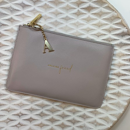 Katie Loxton Personalised 'Amazing Friend' Perfect Pouch In Pale Grey