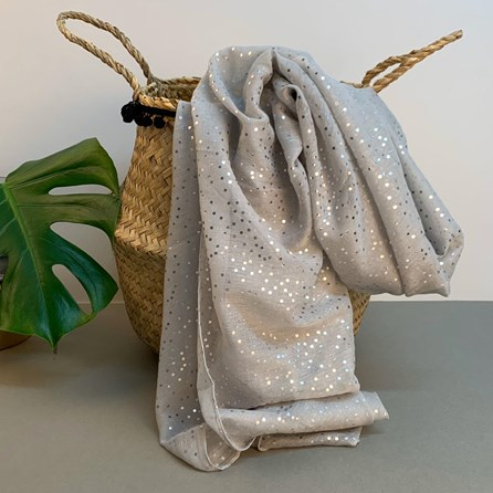Silver Grey Scarf With Metallic Dots