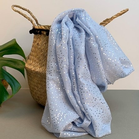 Light Blue Scarf With Metallic Dots