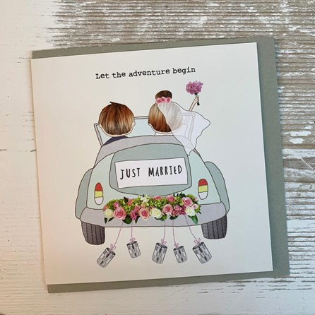 'Just Married. Let The Adventure Begin'  Greetings Card