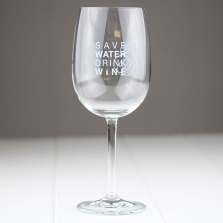 Red Wine Glass 'Save Water Drink Wine'