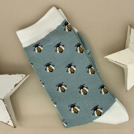 Bamboo Honey Bees Socks in Powder Blue