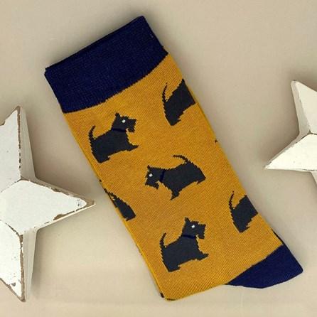 Men's Bamboo Westie Pup Socks in Mustard