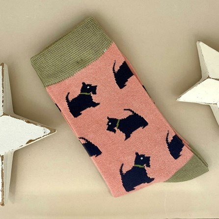 Bamboo Westie Pups Socks in Dusky Pink