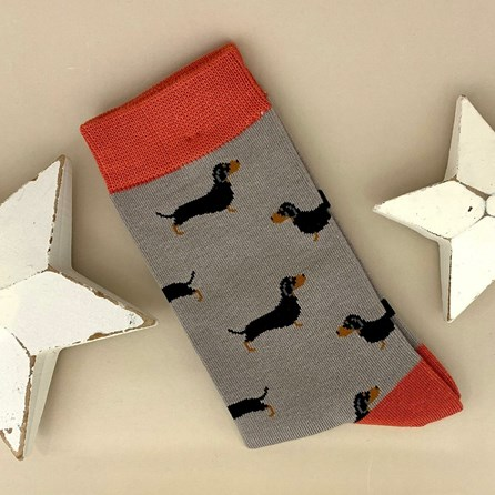 Bamboo Little Sausage Dogs Socks in Grey