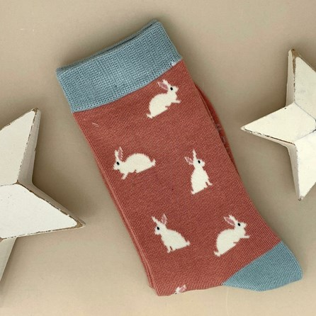 Bamboo Rabbit Socks in Dusky Pink