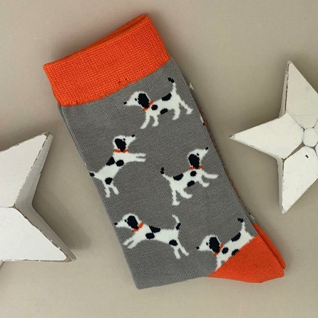 Bamboo Little Dalmations Socks in Light Grey