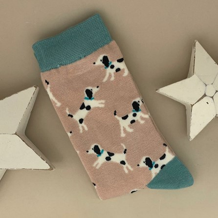 Bamboo Little Dalmations Socks in Dusky Pink