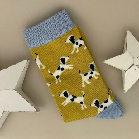 Bamboo Little Dalmations Socks in Yellow
