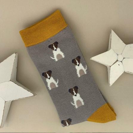 Men's Bamboo Little Jack Russells Socks in Grey