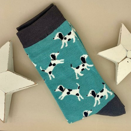 Men's Bamboo Little Dalmations Socks in Turquoise