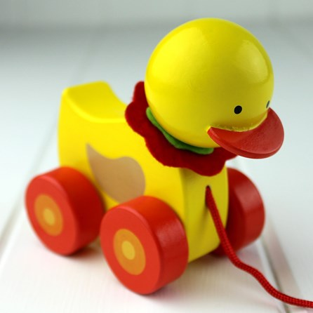 Hand Painted Wooden Duck Pull Along
