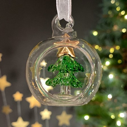 Glass Bauble With Green Tree