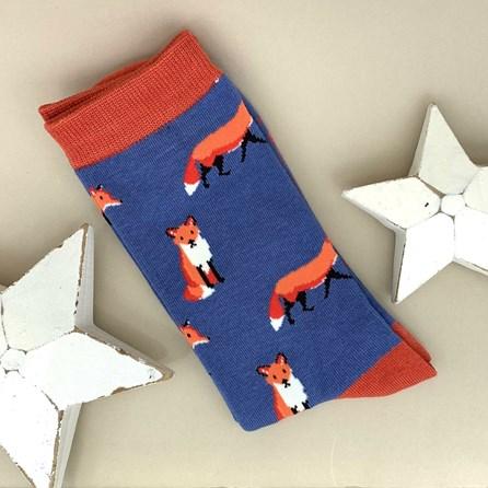 Men's Bamboo Fox Socks In Blue