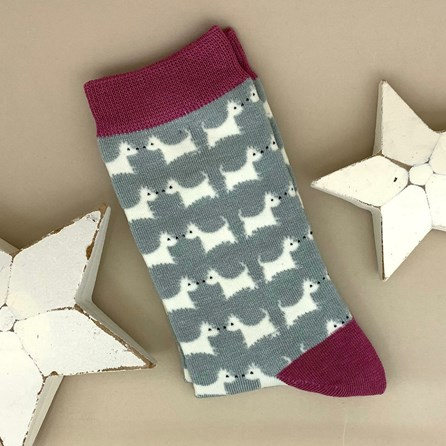 Bamboo Westie Dog Socks In Duck Egg