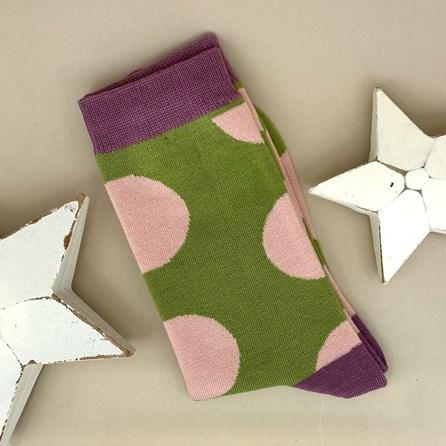 Bamboo Green Polka Dot Socks