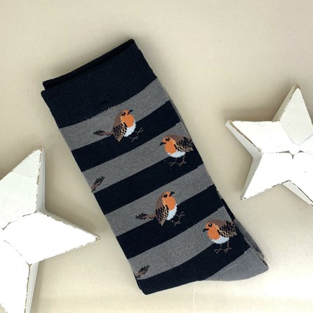 Men's Bamboo Robins & Stripes Socks in Grey