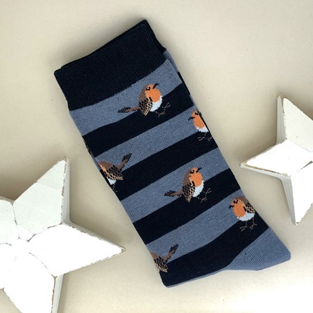 Men's Bamboo Robins & Stripes Socks in Blue