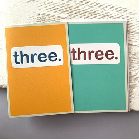 'Three.' Children's Birthday Card