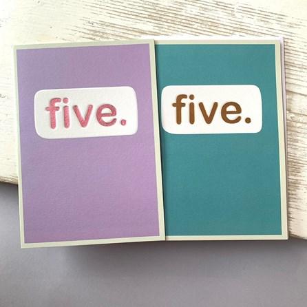'Five.' Children's Birthday Card