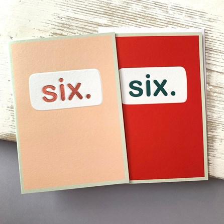 'Six.' Children's Birthday Card