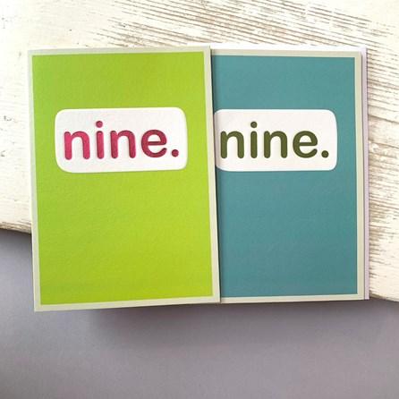 'Nine.' Children's Birthday Card