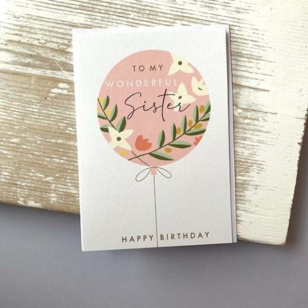 'To My Wonderful Sister' Birthday Card