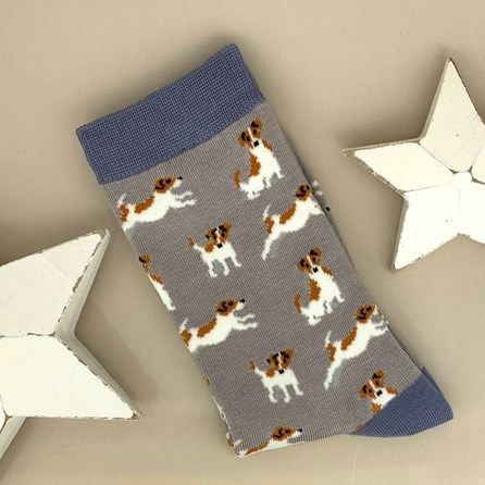 Bamboo Jack Russell Socks in Grey