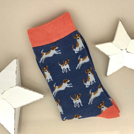 Bamboo Jack Russell Socks in Navy