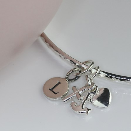Personalised Faith, Hope And Charity Silver Bangle