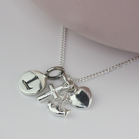 Personalised Faith, Hope And Charity Silver Necklace