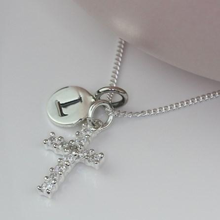 Personalised Semi Precious Stone Cross Necklace