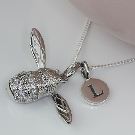Personalised Bumblebee Silver Necklace
