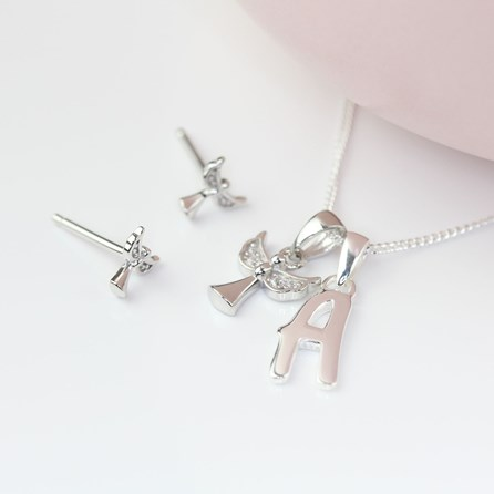 Personalised Children's Angel Necklace And Earrings Set