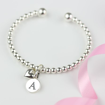 Personalised Children's Silver Heart Bead Bangle