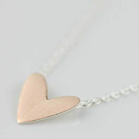 Cariad Brushed Rose Gold Heart Necklace