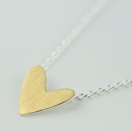 Cariad Brushed Gold Heart Necklace