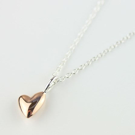 Devotion Polished Rose Gold Heart Necklace