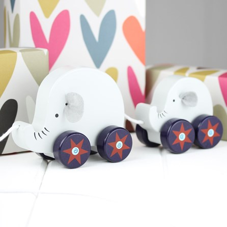 Hand Painted Wooden Elephant And Baby Pull Along
