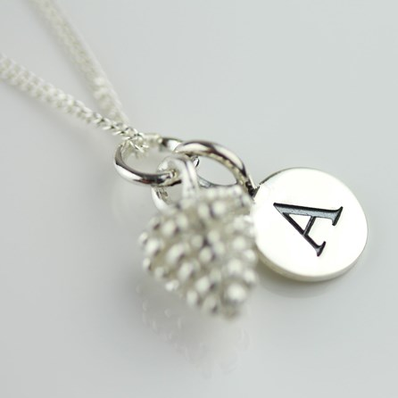 Personalised Solid Silver Pine Cone Necklace