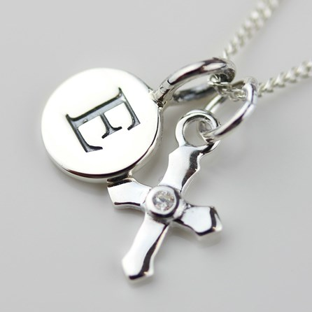 Personalised Silver Christening Cross Necklace