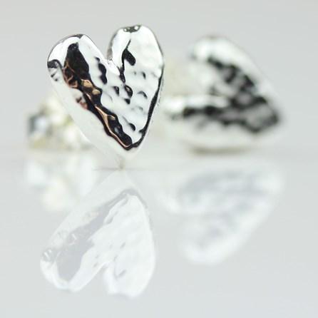 Silver Hammered Heart Earrings