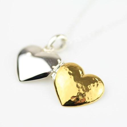 Stunning Reversible Silver And Gold Locket Necklace