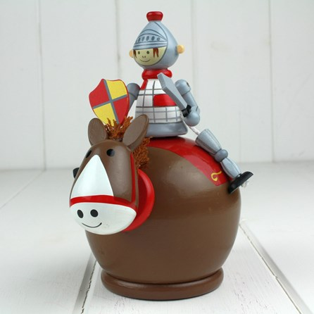 Hand Painted Wooden Knight Moneybox