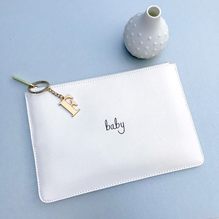 Katie Loxton Personalised 'Baby' White Pouch