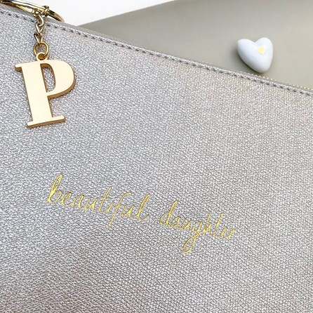 Katie Loxton Personalised 'Beautiful Daughter' Silver Pouch
